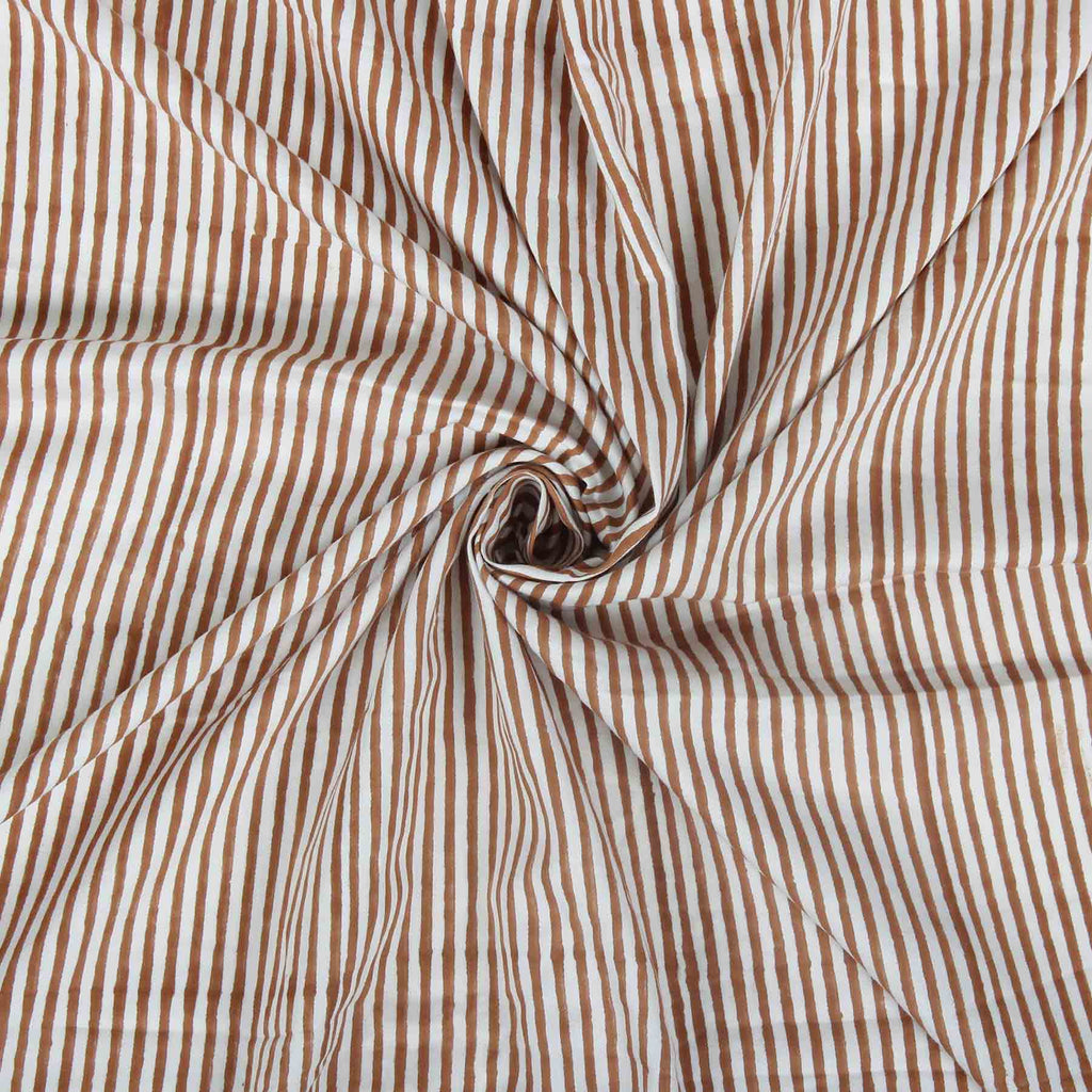 brown and white designer stripes in trend on pure cotton running fabrics online shopping handcrafted at crafinno.com