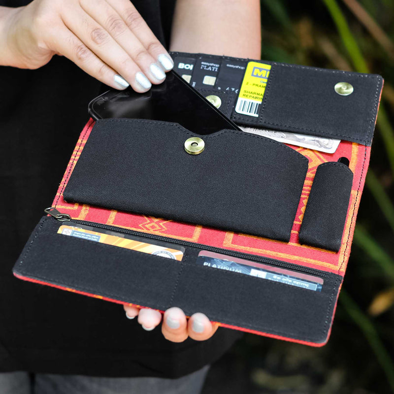 online shopping casual Eco friendly pure cotton textile mobile clutches wallets hancrafted by craffino.com