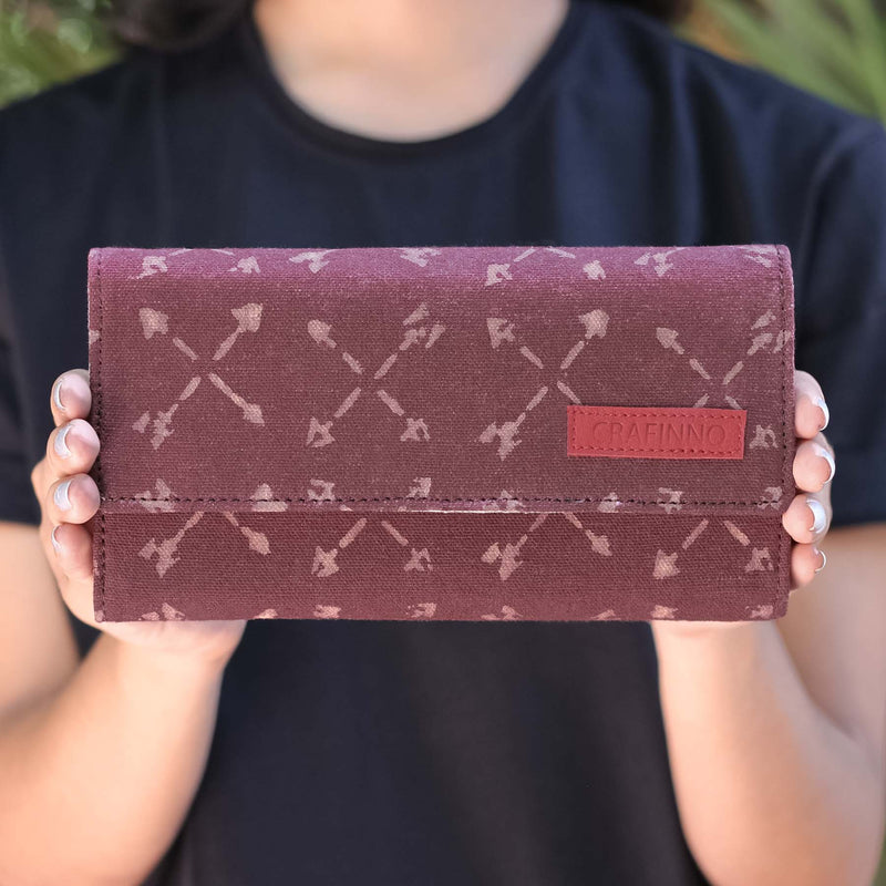 Buy online authentic canvas cotton fabric multi pocket maroon color women mobile wallets clutches handcrafted by crafinno.com