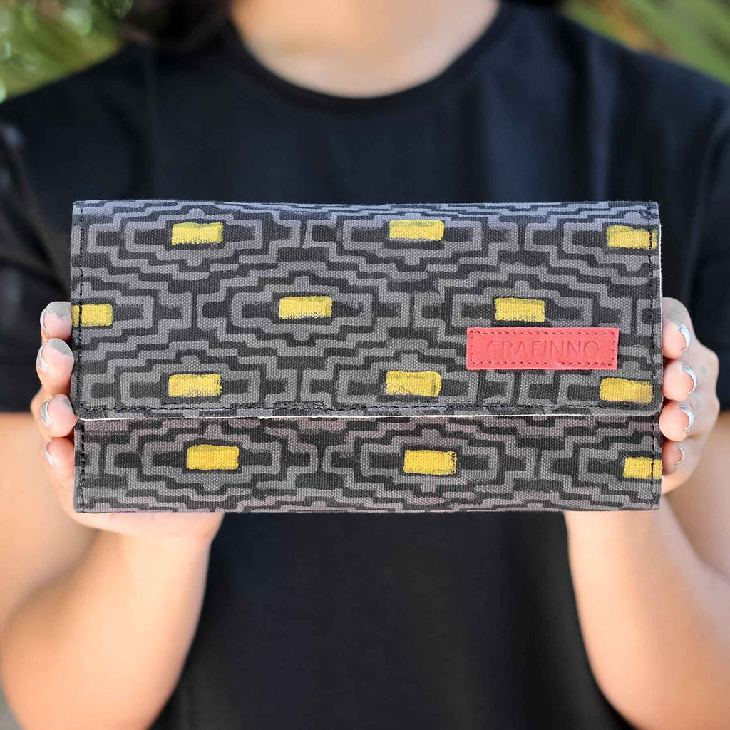 Buy online cotton canvas fabric multi pocket brown and yellow mobile clutch wallet handcrafted by crafinno.com