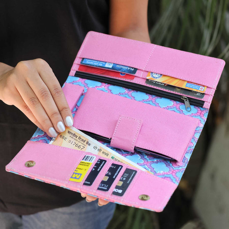 shop indian fancy pink and blue color clutches bag for women girls designed by crafinno.com