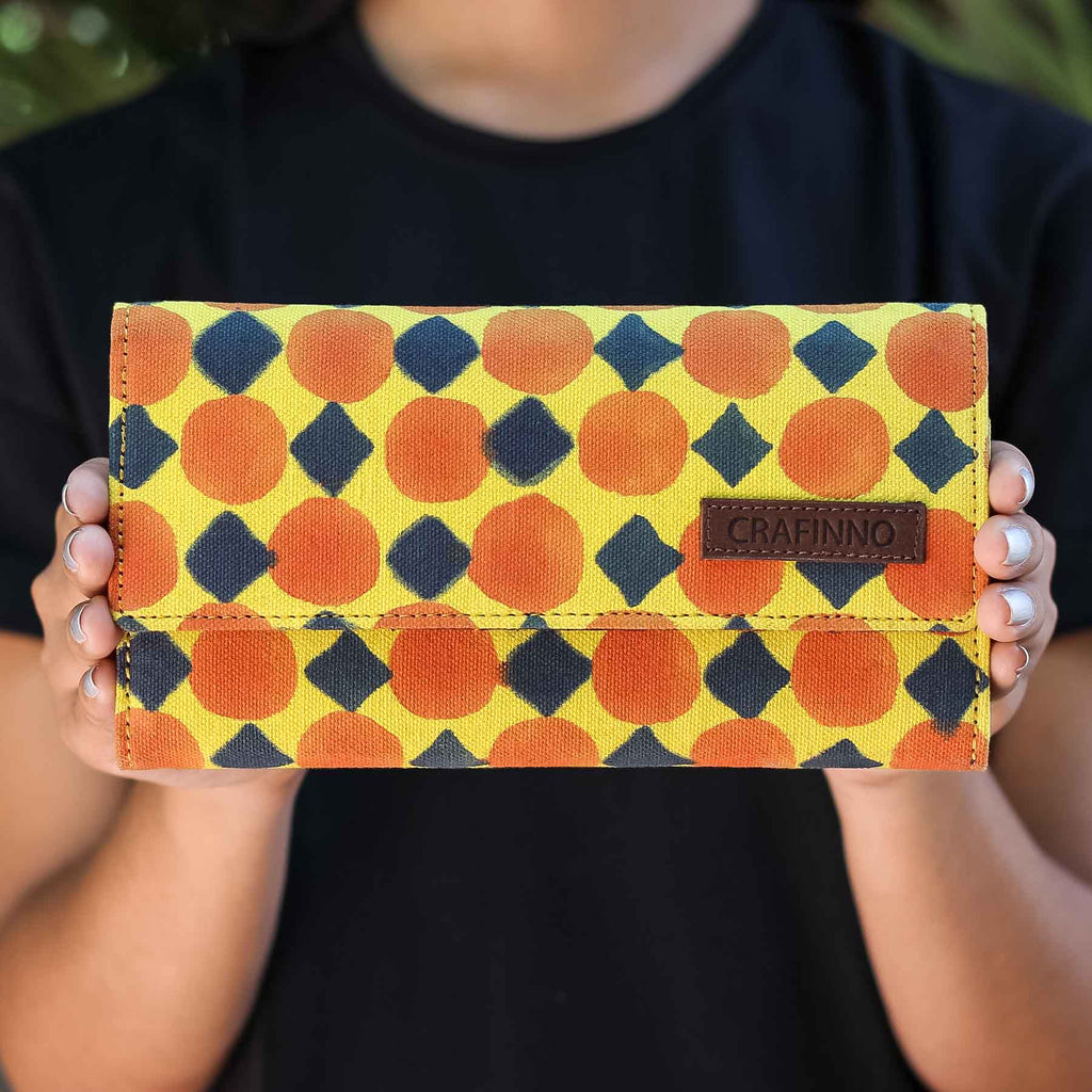 Buy online cotton Canvas multi pocket yellow ladies clutch wallet handcrafted by Crafinno.com