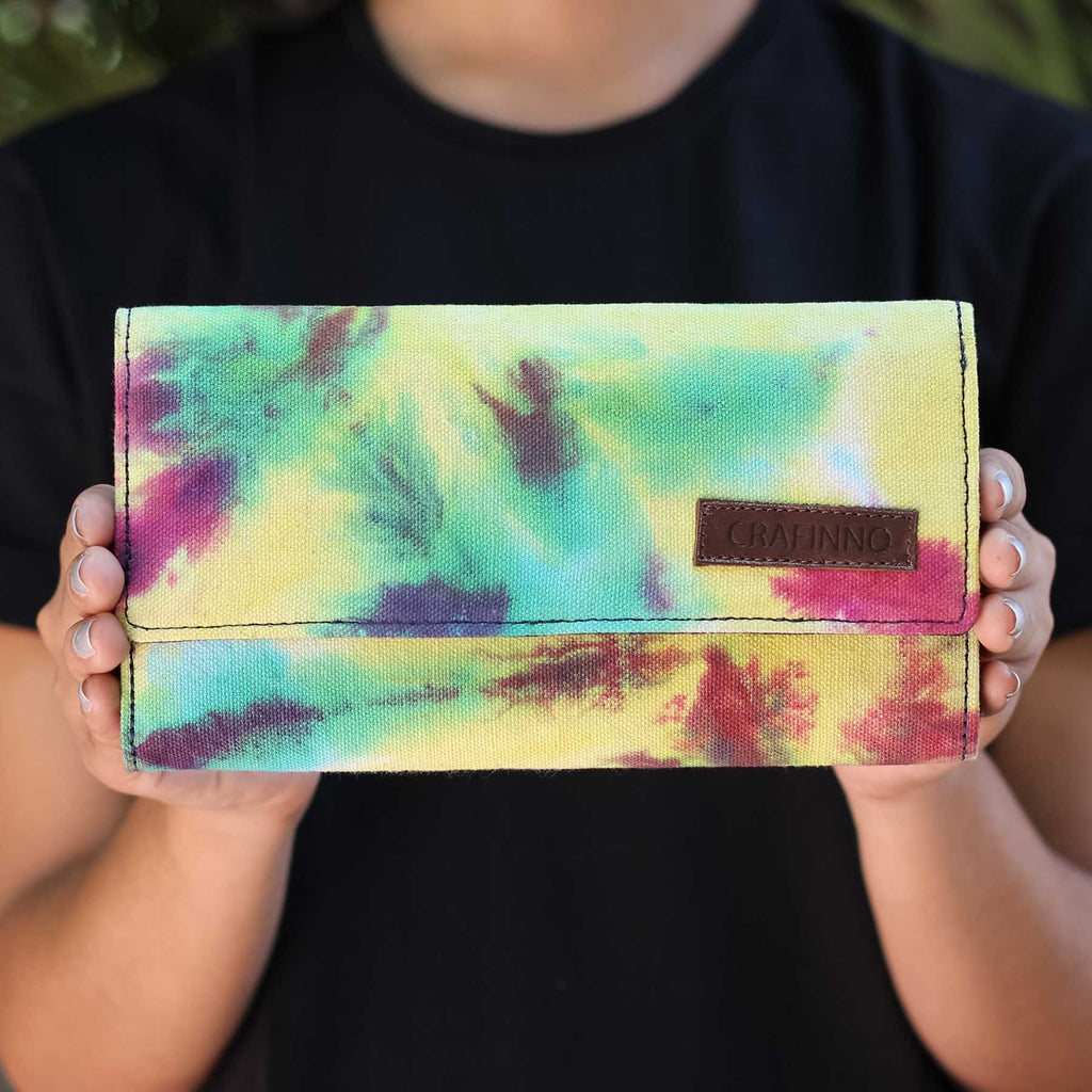 Buy online Canvas denim multi pocket multi color ladies wallets clutches handcrafted by Crafinno.com