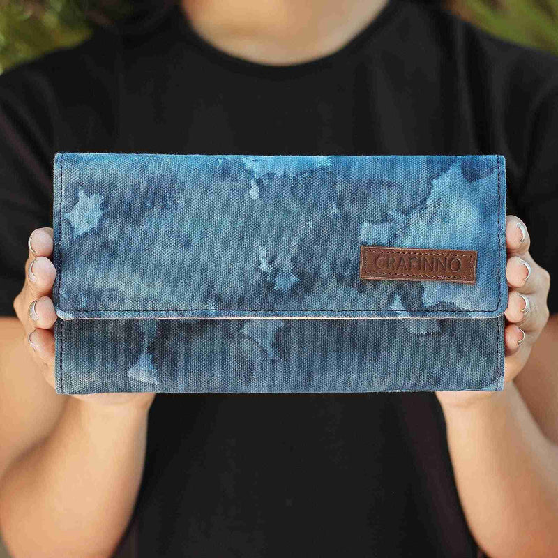 Buy online cotton textile canvas denim multi pocket mobile pocket sky blue clutches wallets handcrafted by crafinno.com