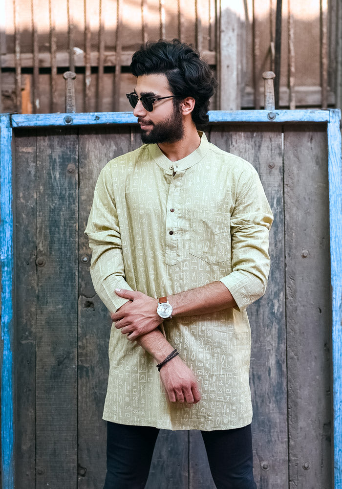 Buy olive pure cotton block printed printed short kurta for mens indian clothes online best deals festive wear for mens at crafinno.com