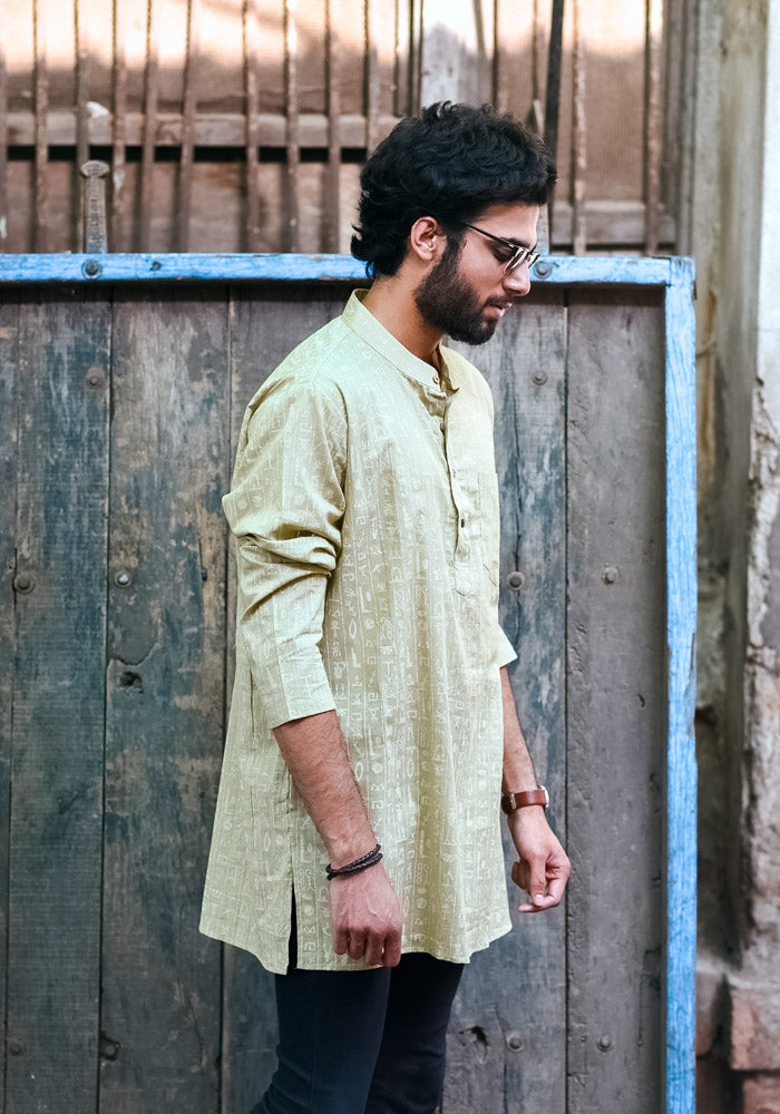 Buy pastel olive regular fit quirky rajput style gents kurtas suppliers manufacturers india best kurta patterns mens handcrafted kurtas in trend at crafinno.com