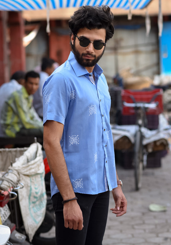 buy light blue casual college style men shirts premium quality pure cotton block printed shirts men handcrafted at crafinno.com