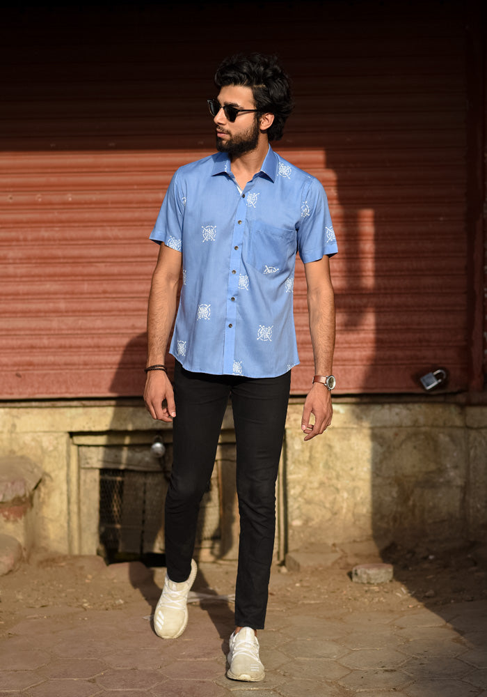 buy blue sangameri printed quirky rajasthani style men shirts half sleeves minimalist shirts online at crafinnno.com