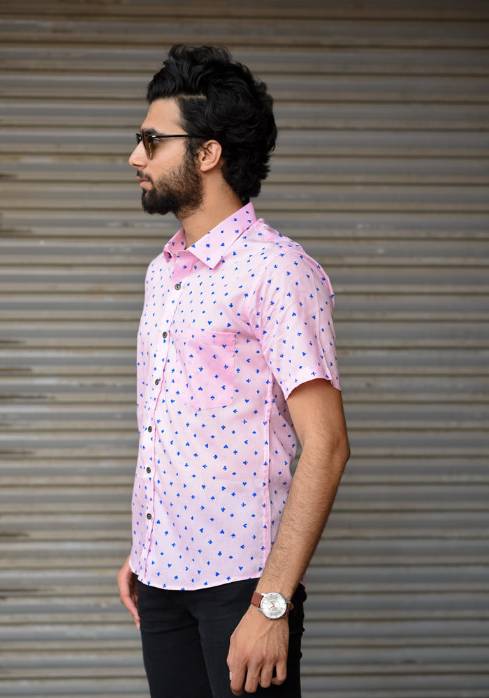 buy light pink quirky premium giza cotton block printed shirts for men exclusive mens shirts handmade at crafinno.com