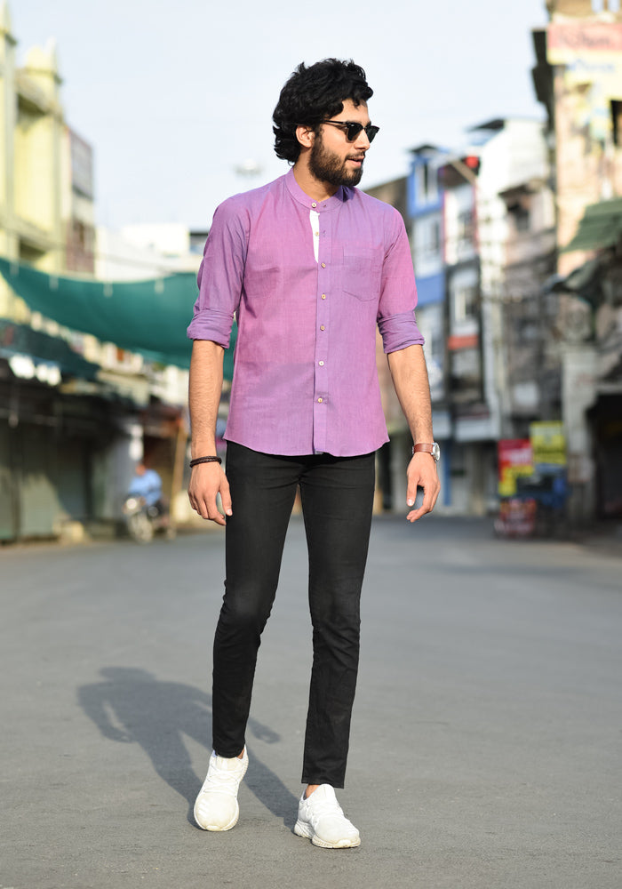 buy classic premium quality pure khadi shirts for men mandarin collar hand dyed shirts in trend english colors online at crafinno.com