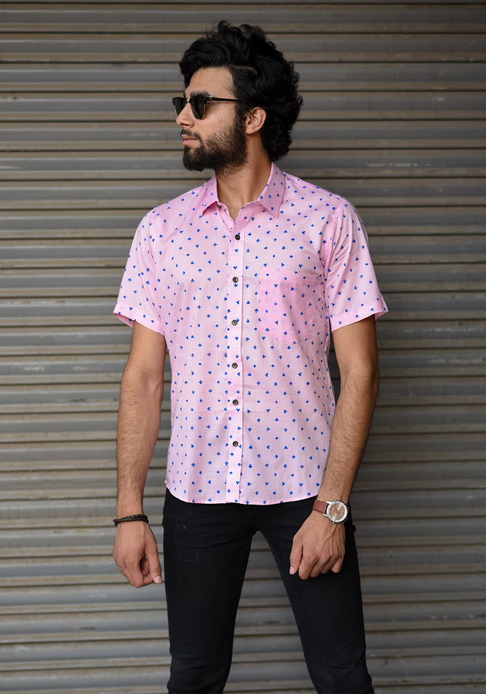 buy pink trendy regular fit half sleeves beach shirts male sangameri printed designer royal shirts mens at crafinno.com