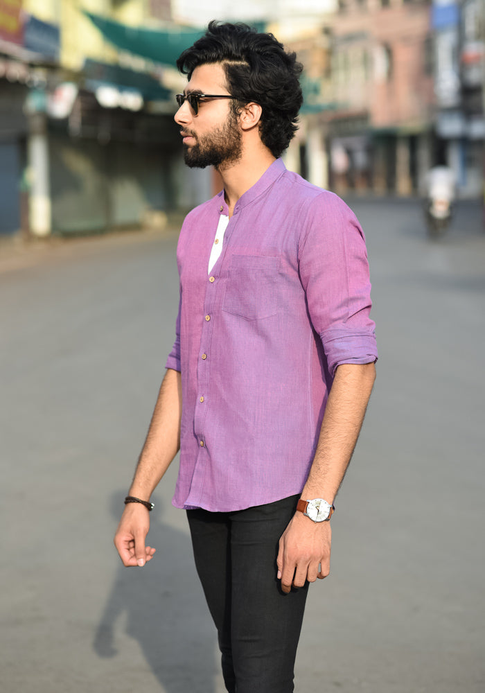 buy Eco friendly voilet khadi linen mens casual all day shirts luxury shirts handmade branded shirts online at crafinno.com
