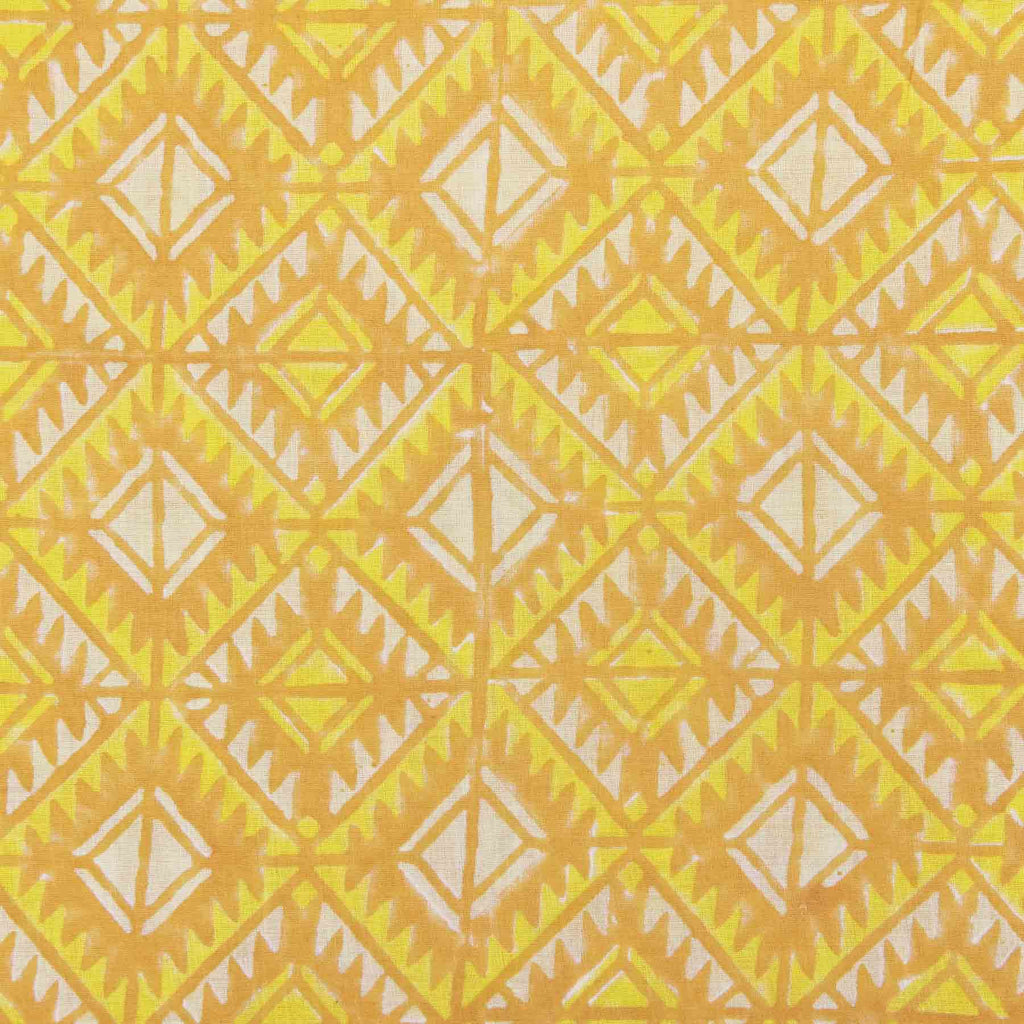 Buy cotton fabric online in India yellow block printed handcrafted fancy suit material by artisans at crafinno.com