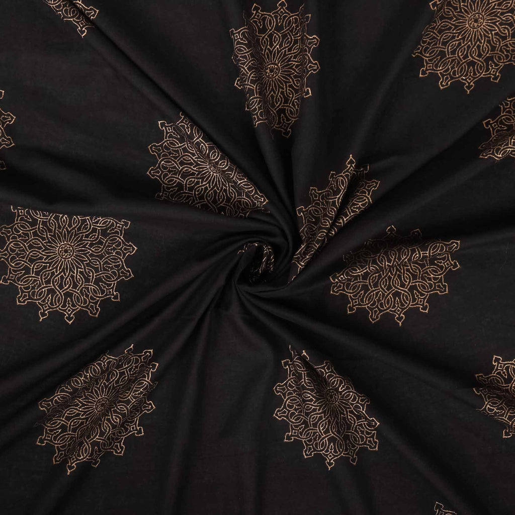 Buy black pure cotton fabric online India block printed handcrafted designer dress material in trend at crafinno.com