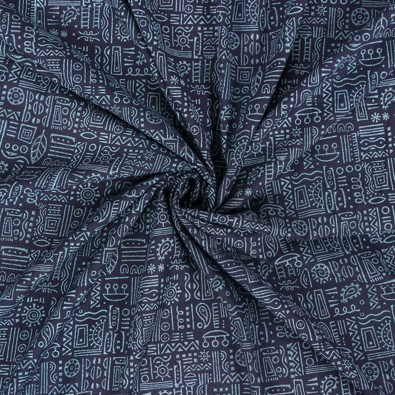Buy Indian cotton block printed fabric store online dress material fashion navy blue color designed by crafinno.com