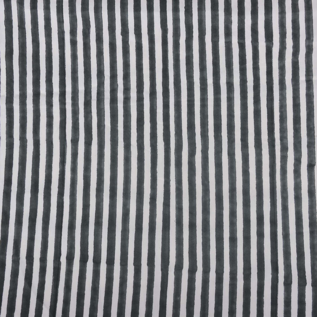 Buy pure cotton fabrics online India black and white stripes block printed handcrafted designer dress material by artisans at crafinno.com