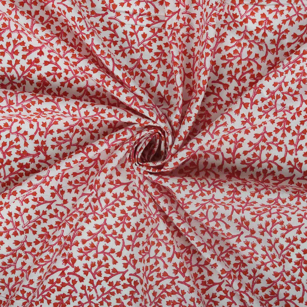 Buy cotton fabric online in India floral prints red color handcrafted designer suit material by artisans at crafinno.com