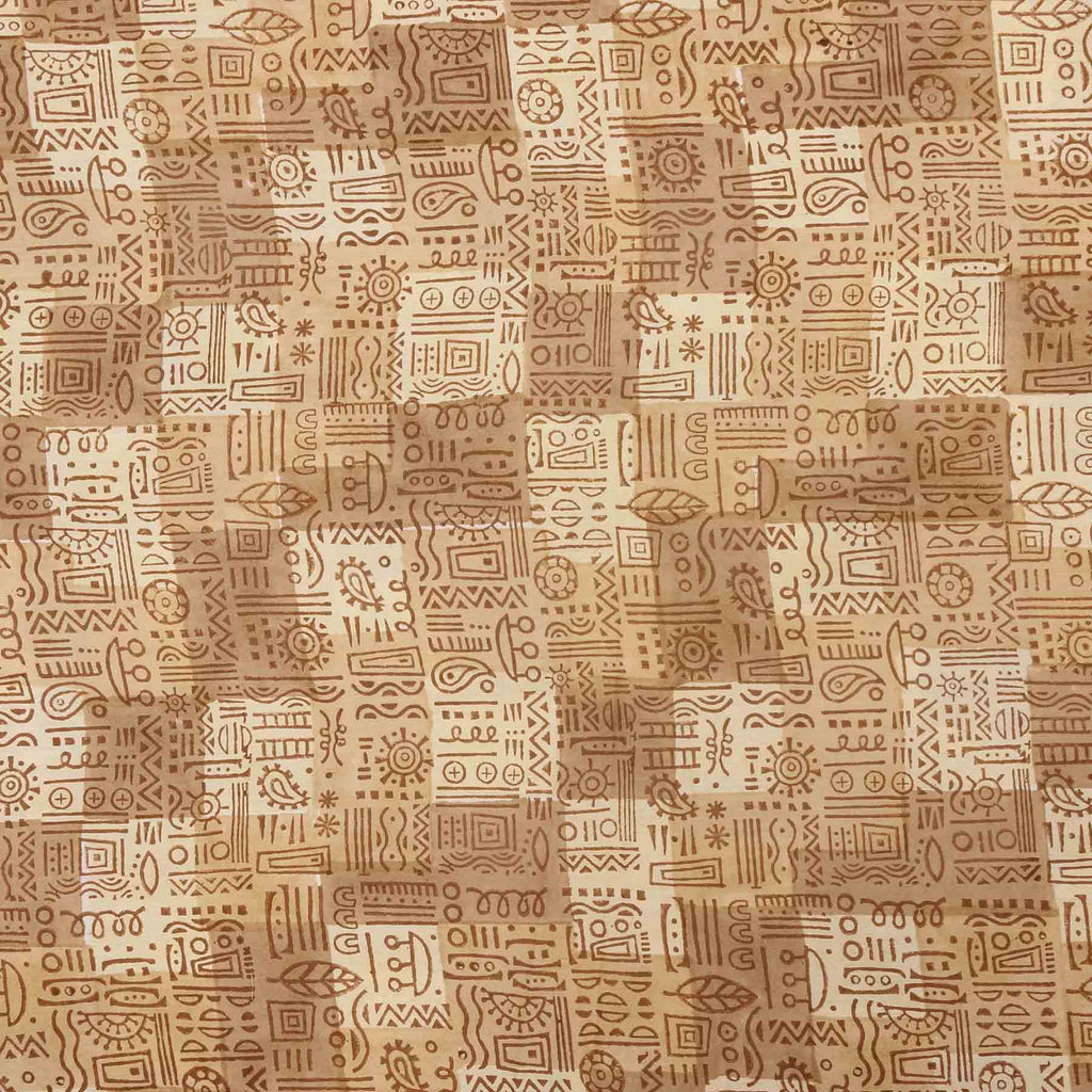 brown vintage style mughal Block prints in trend on pure cotton running fabrics online shopping handcrafted at crafinno.com