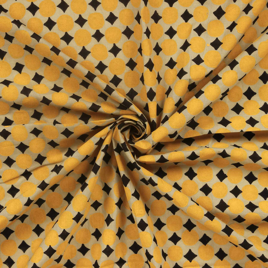 Buy Indian cotton block printed fabric store online cloth material yellow color blouse piece designed by crafinno.com