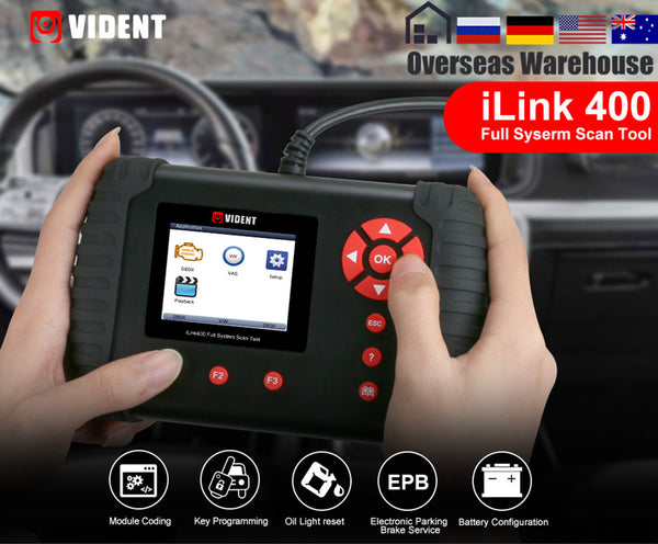 VIDENT iLink400 Automotive Full System Scanner ABS/SRS/EPB/Transmission Diagnostic tool DPF Regeneration Oil Reset Update Online