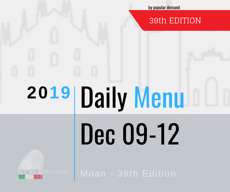 The Daily Menu 39th Edition Milan, 09-12 December 2019