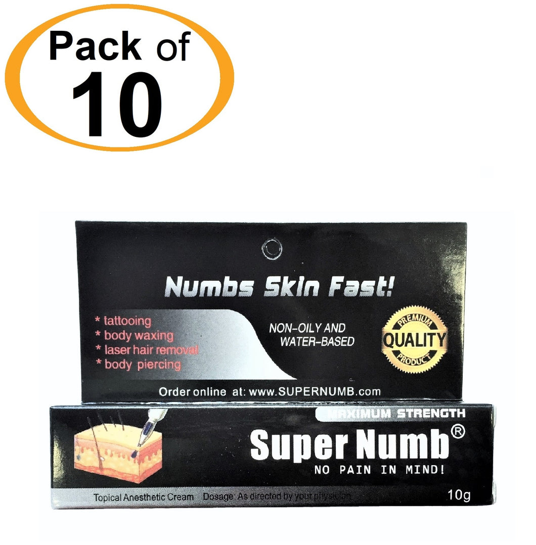 10 Tubes x 10g SUPER NUMB® Topical Numbing Cream