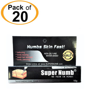 20 Tubes x 10g SUPER NUMB® Topical Numbing Cream