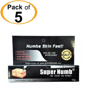 5 Tubes x 10g SUPER NUMB® Topical Numbing Cream