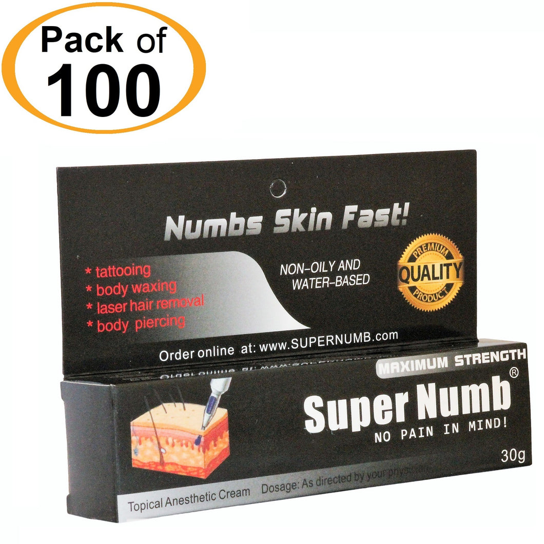 100 Tubes x 30g SUPER NUMB® Topical Numbing Cream