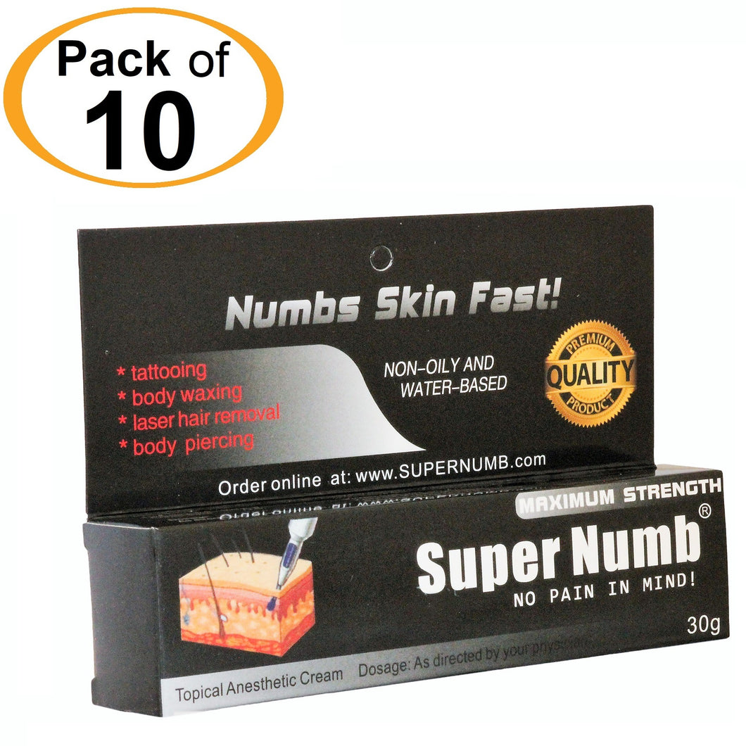 10 Tubes x 30g SUPER NUMB® Topical Numbing Cream