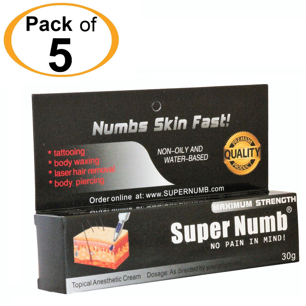 5 Tubes x 30g SUPER NUMB® Topical Numbing Cream