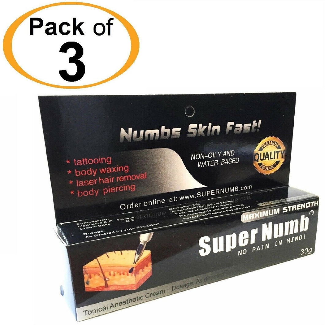 3 Tubes x 30g SUPER NUMB® Topical Numbing Cream