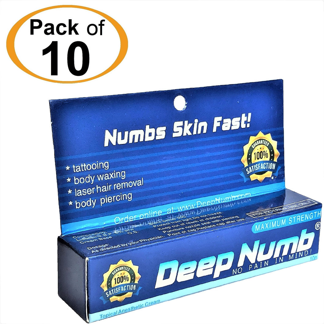 10 Tubes x 10g DEEP NUMB® Topical Numbing Cream