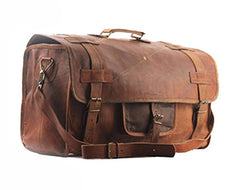 Distressed leather retro style flap duffle bag
