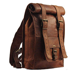 genuine leather roll top backpack