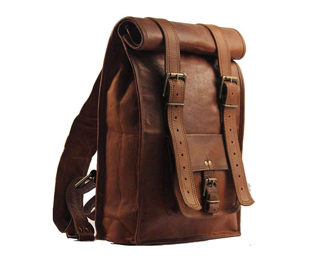 Genuine Leather Roll Top Backpack for Travel - thar-artefacts