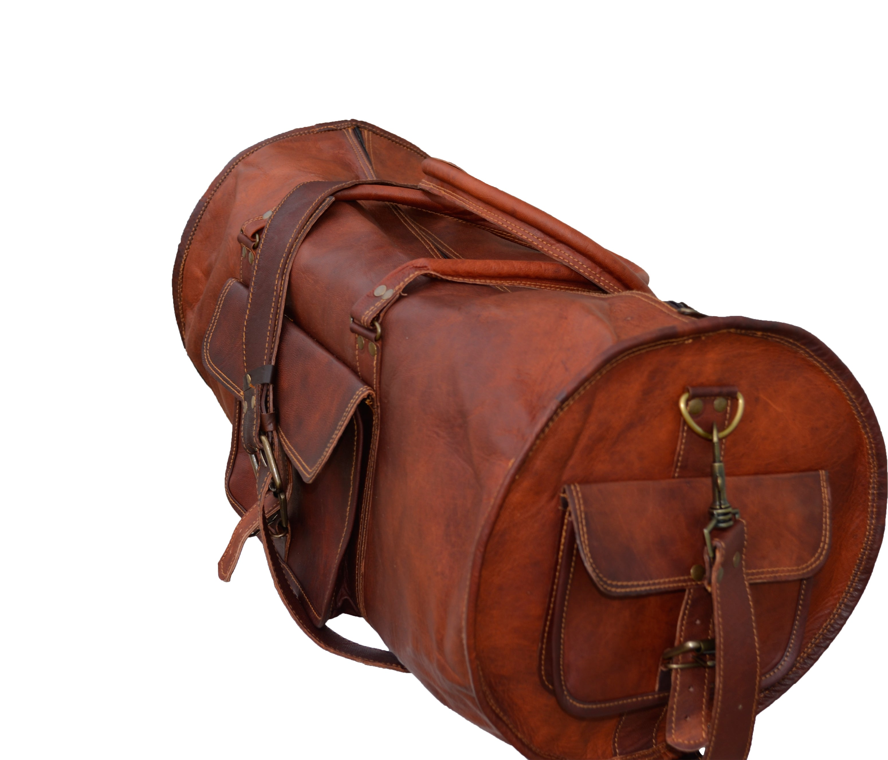Genuine Leather Round Duffel bag for Gym, Sports and Travel - thar-artefacts