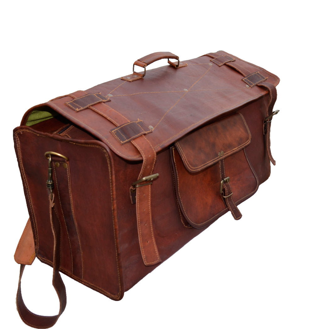 Genuine Leather Retro style square Duffel Bag with flap for Travelling - thar-artefacts