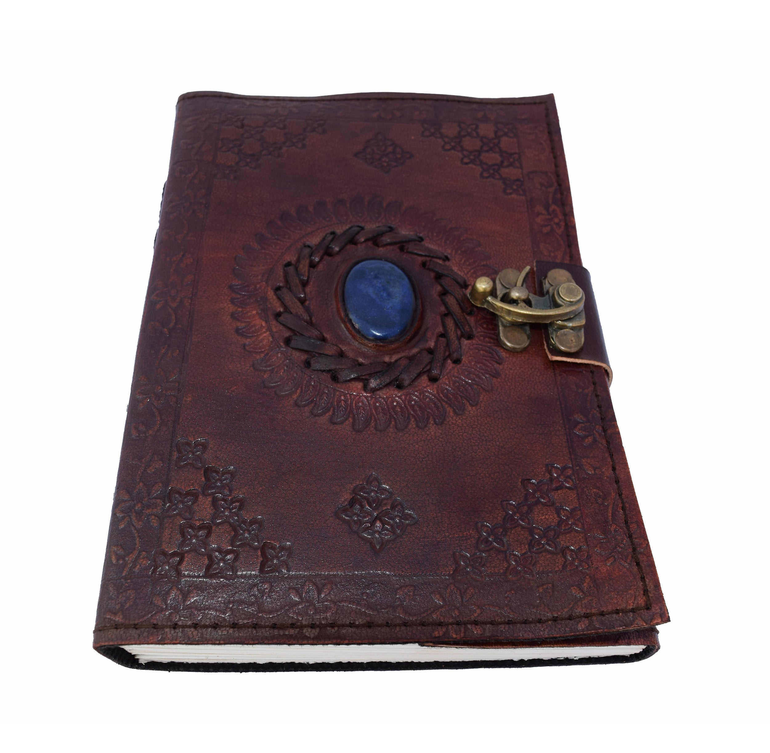 Handmade Refillable Leather Journal with Vintage Stone [PACK OF 2] - thar-artefacts
