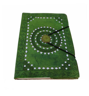 Seaweed Handmade Refillable Leather Journal with Unique Lace Lock - thar-artefacts