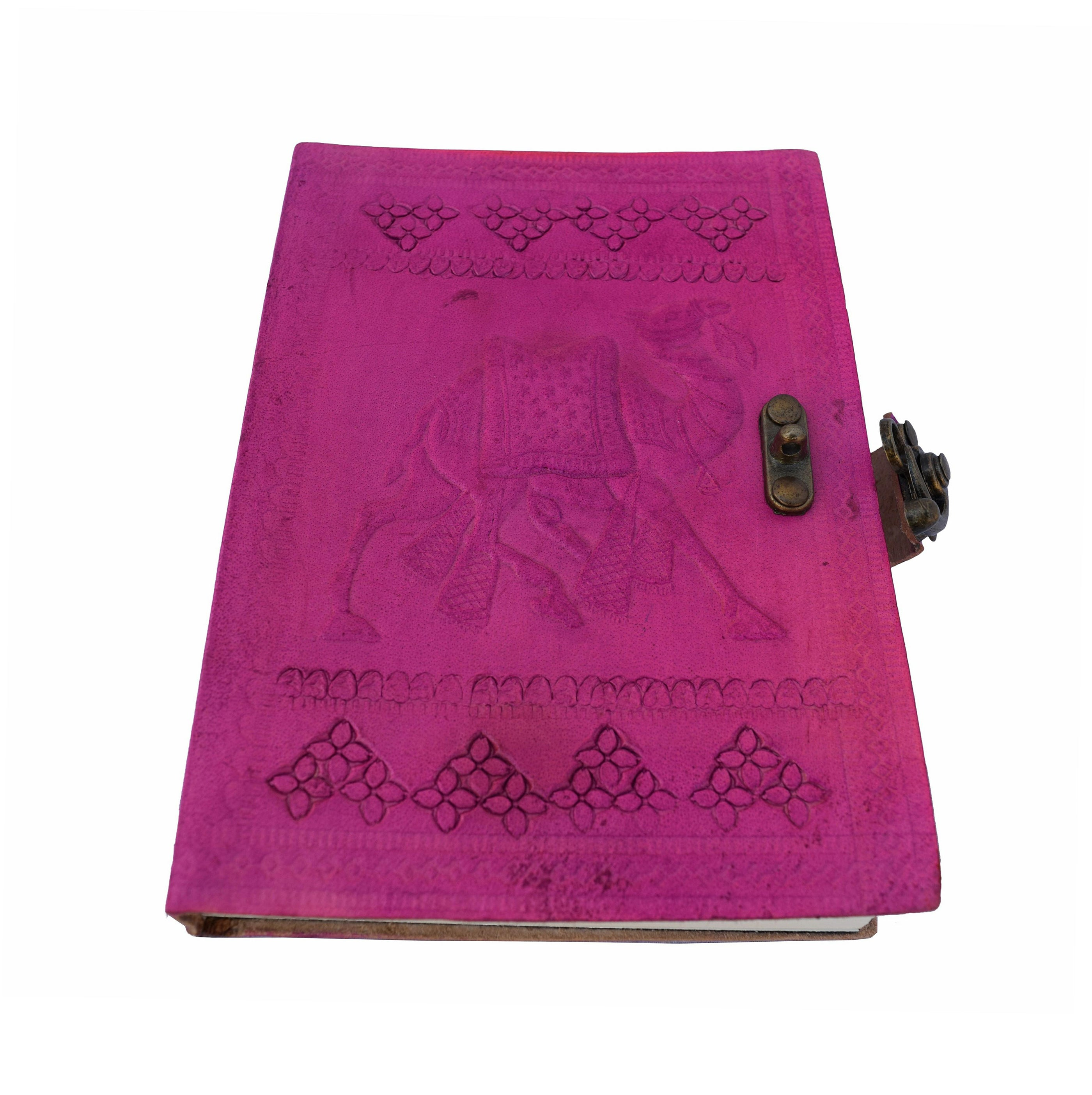 Red-violet Handmade Leather Journal with Vintage Lock Latch - thar-artefacts