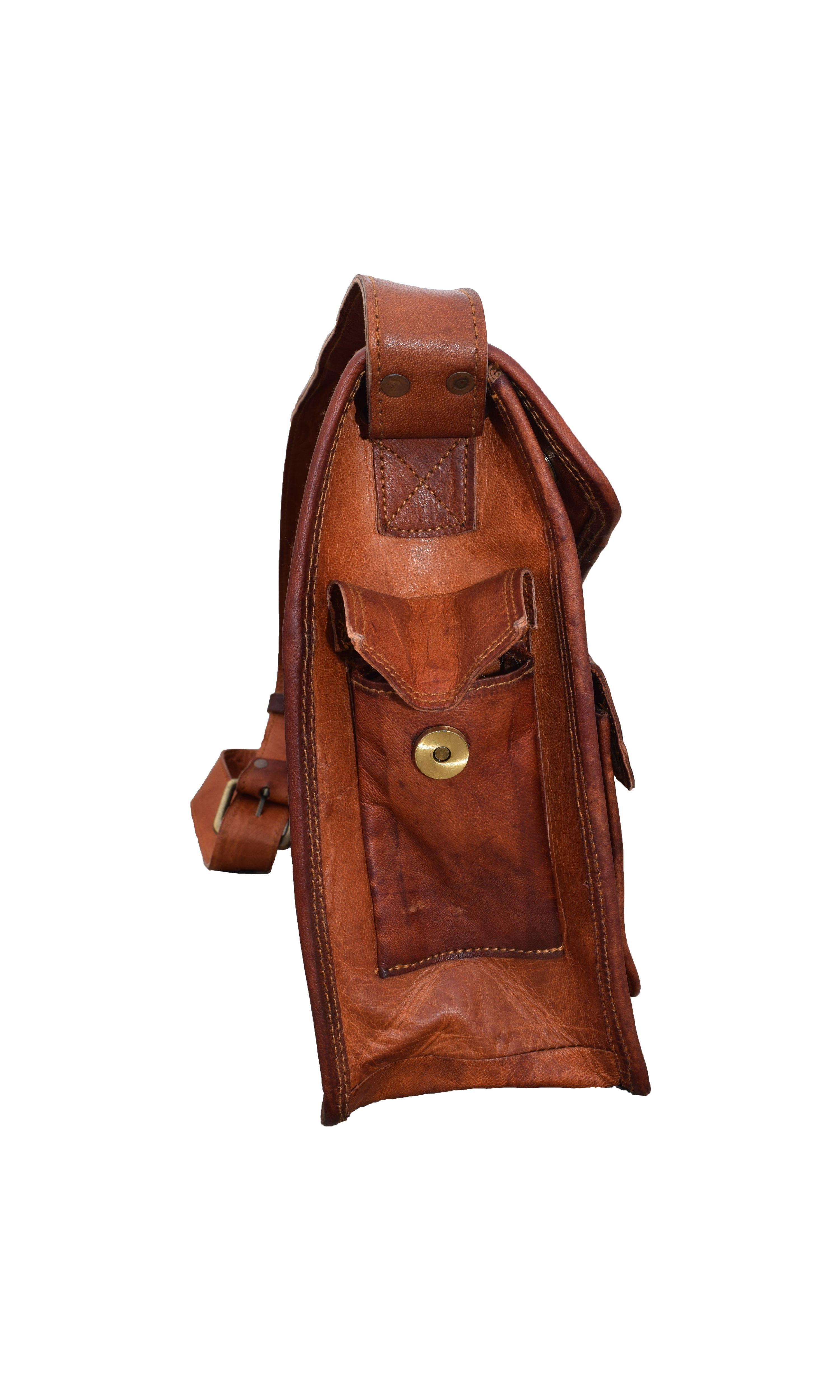 Distressed Leather Crossbody Laptop Messenger Bag - thar-artefacts