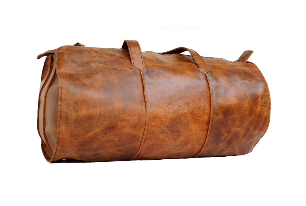 Genuine Leather Vintage style round Duffel bag for Gym, Sports and Travel - thar-artefacts