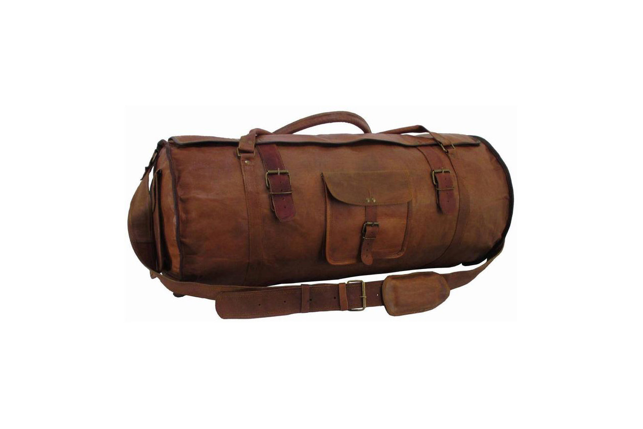 Genuine Leather Round Duffel Bag with flap for Gym, Sports, Travel and Adventure - thar-artefacts