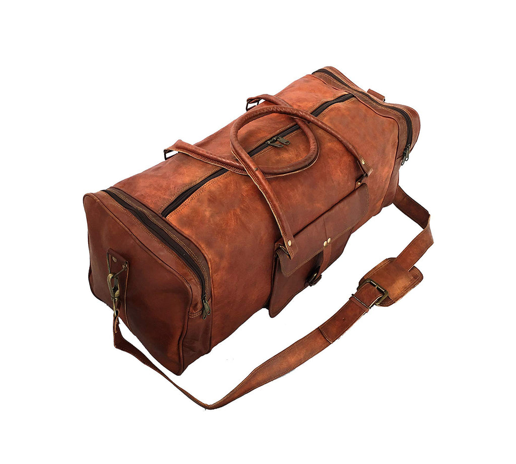 Genuine Leather Square Duffel Bag for Gym, Sports and Travel - thar-artefacts