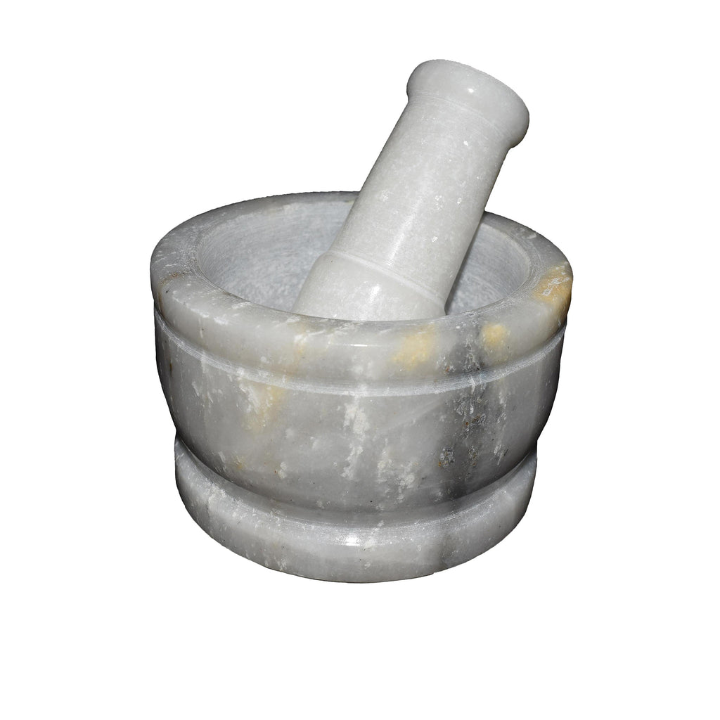 Round Polished White Marble Mortar & Pestle Set - thar-artefacts