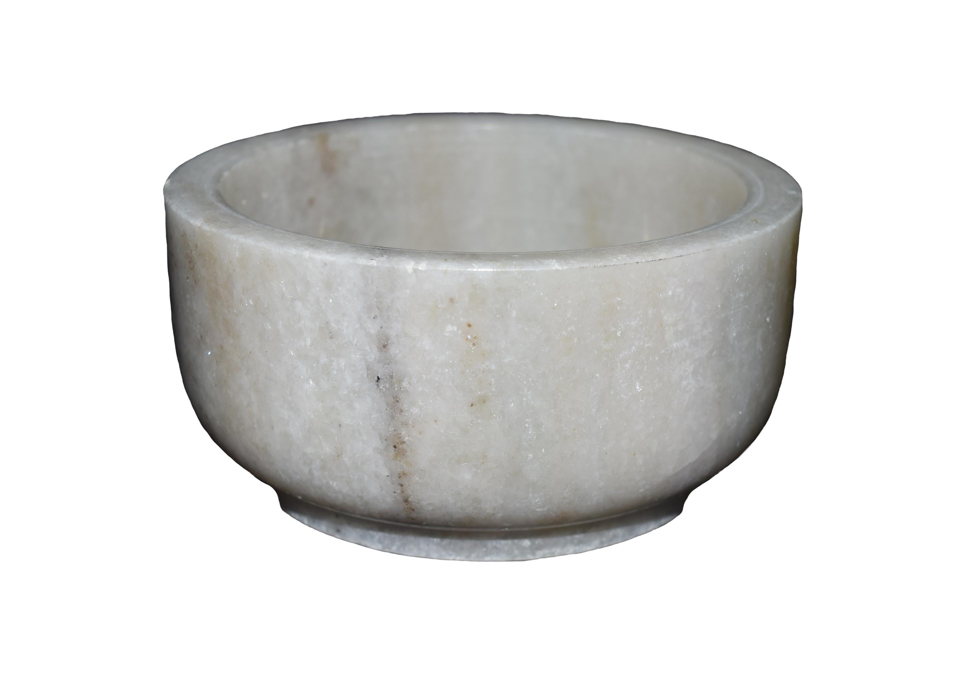 Polished Round Bowl Shaped Marble Mortar & Pestle Set - thar-artefacts