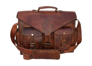 Convertible Laptop Messenger bag cum Backpack for office made with Genuine Leather - thar-artefacts