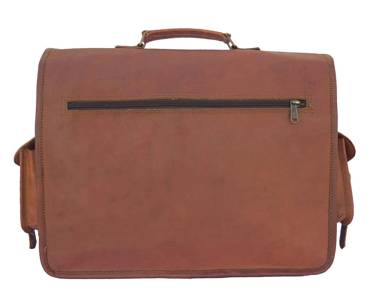Genuine Leather Laptop Messenger briefcase with Big Front Pocket for office - thar-artefacts