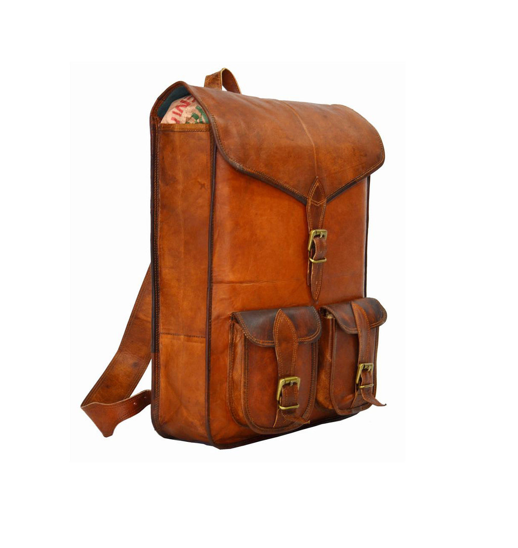Vintage style Genuine Leather Backpack for school and college - thar-artefacts